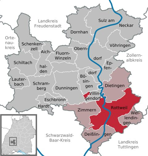 Rottweil (in red)-a town in Germany
